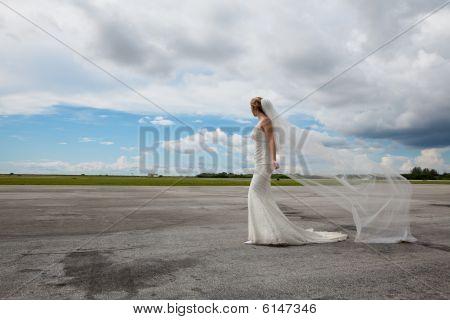 Bride in an open space