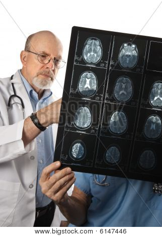 Two Doctors Viewing Mri Scans