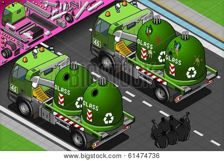 Isometric Glass Garbage Truck with Container in Rear View