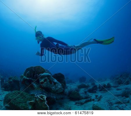 Free diver gliding on the depth in tropical sea
