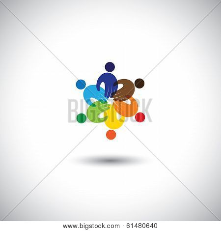 Employees Meeting, Kids Playing, Unity - Concept Vector Icon