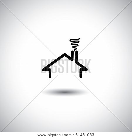 Home Concept Vector Icon With Roof, Chimney & Smoke