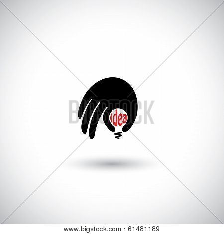 Human Hand With Creative Idea Light Bulb - Concept Vector Icon