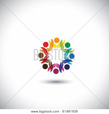People Icons, Community Unity, Employees Meeting - Concept Vector Icon