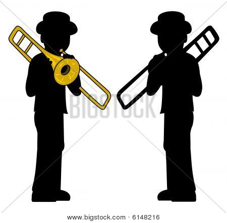 Trombone players silhouettes