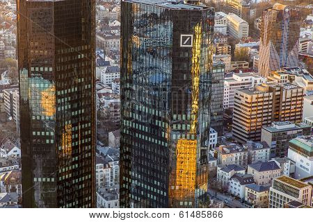 Twint Owers Of Deutsche Bank In Sunset, Frankfurt