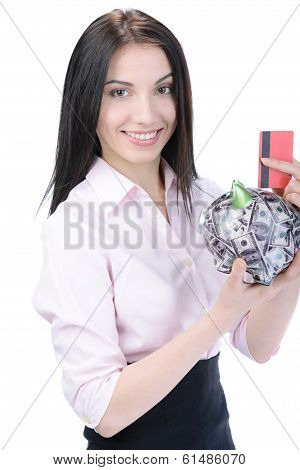 Business Woman And Money