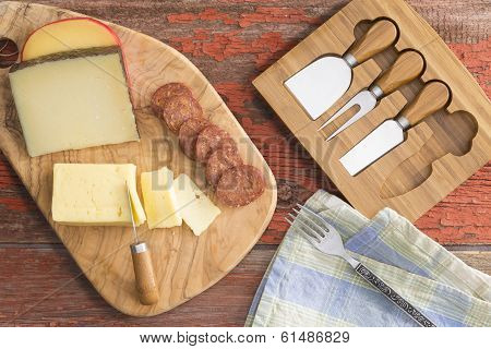 Assorted Cheeses And Spicy Sausage