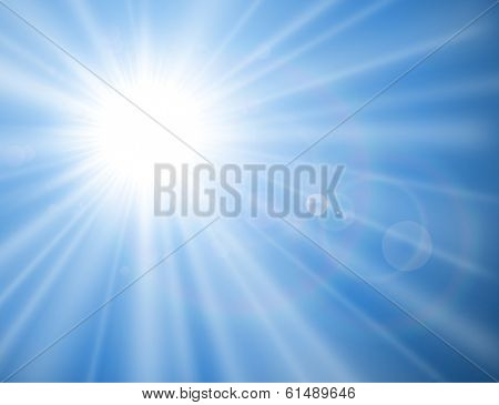 Sun with lens flare, vector background.