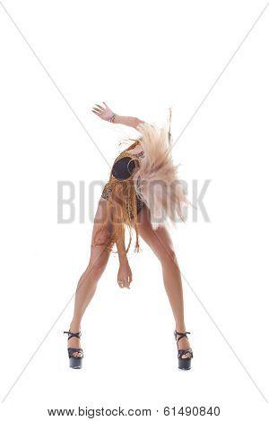 Pj-dance, young beautiful dancer posing on a studio