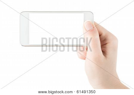 Mobile phone with blank screen in hand