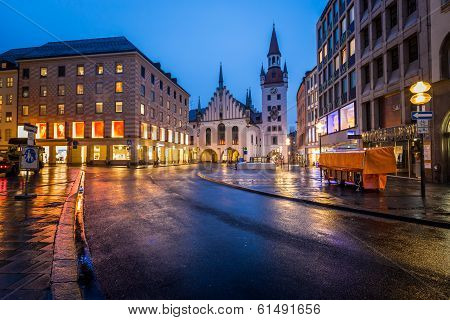 Old Town Hall And Marienplatz In The Morning, Munich, Bavaria, Germany