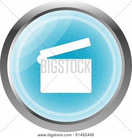 Glossy Icon With Clapper Board Blue Web Button (icon) Isolated On White