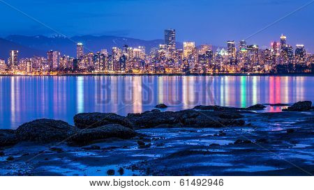 Vancouver city lights from Jericho beach