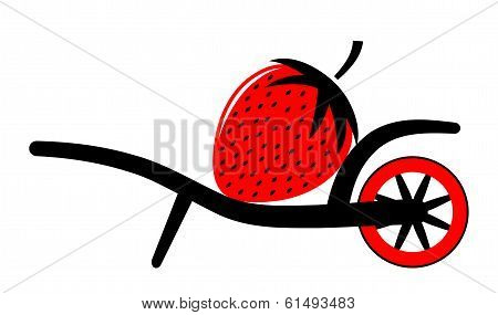 Wheel Barrow And Strawberry