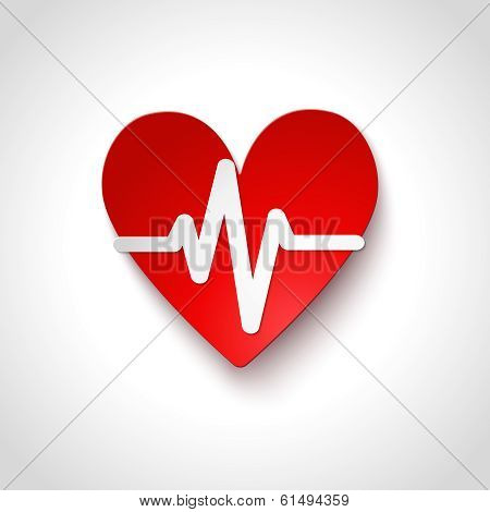 Heart rate emblem icon isolated