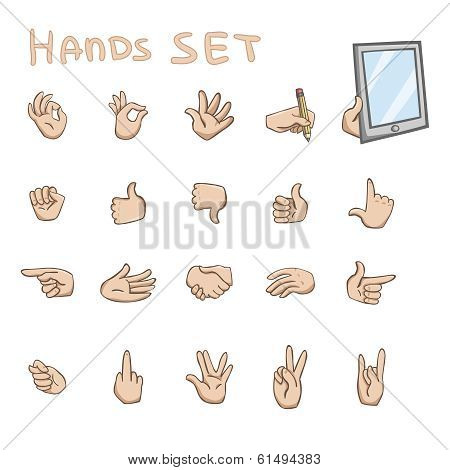 Hands gestures flat icons set