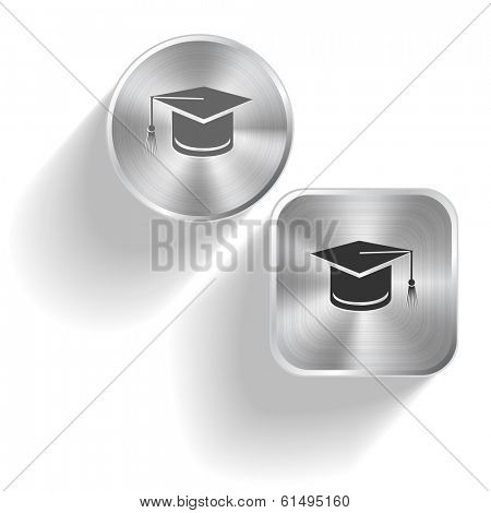 Graduation cap. Vector set steel buttons