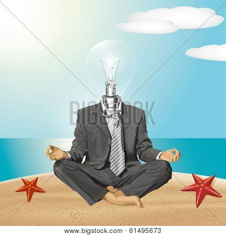 Relax travel concept. lamp head businessman in lotus pose meditating
