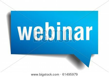 Webinar Blue 3D Realistic Paper Speech Bubble Isolated On White