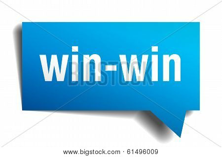 Win-win Blue 3D Realistic Paper Speech Bubble Isolated On White