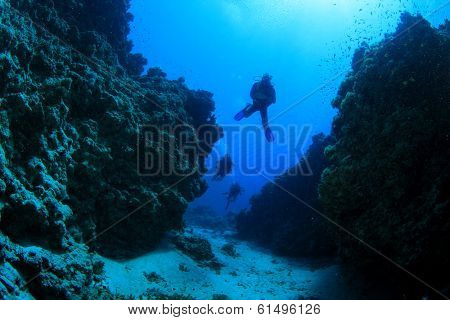 Scuba Diving in underwater canyon