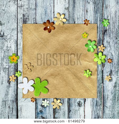 Scrapbooking Background  - flowers on kraft paper with space for text