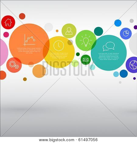 Vector rainbow diagram with various descriptive circles - infographic template
