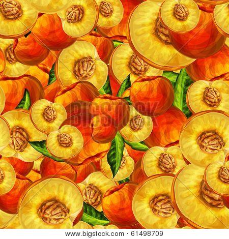 Seamless peach fruit sliced pattern