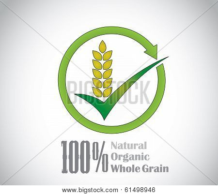 Natural Organic Whole Grain Food Product Symbol Icon Concept Art