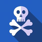 image of skull cross bones  - White vector skull with crossed bones flat design - JPG
