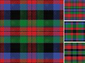 stock photo of tartan plaid  - vector seamless pattern Scottish tartan black blue green red - JPG