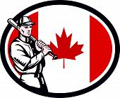 foto of hitter  - Illustration of a Canadian baseball player batter hitter holding bat on shoulder set inside oval shape with Canada maple leaf flag done in retro woodcut style isolated on white background - JPG