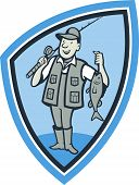 picture of fly rod  - Illustration of a fly fisherman showing fish fatch holding rod and reel done in cartoon style set inside shield crest - JPG