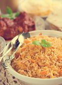 stock photo of biryani  - Indian cuisine biryani rice and chicken curry with retro effect - JPG