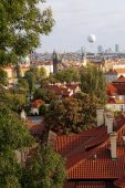 stock photo of skyway bridge  - Photo of old town of Prague from castle vineyard - JPG