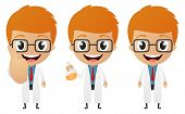 image of mad scientist  - Vector Illustration of funny scientist cartoon on white - JPG