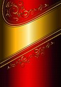 foto of solemn  - The solemn shiny red card with gold border and gold calligraphic pattern - JPG