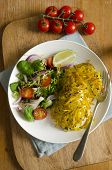 foto of paneer  - Chicken Breast With Paneer Cheese And Curried Potatoes - JPG