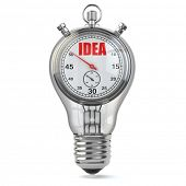 Idea concept. Stopwarch in light bulb, 3d