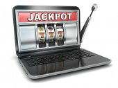 Jackpot. Online gambling concept. Laptop slot machine. 3d