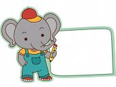 Illustration of a Ready to Print Label Featuring a Cute Elephant Holding a Pencil