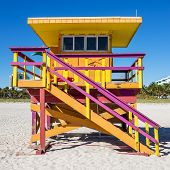 foto of lifeguard  - Colorful Lifeguard Tower in South Beach Miami Beach Florida USA - JPG