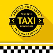 stock photo of cabs  - Taxi badge with shadow - JPG