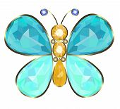 stock photo of brooch  - Gold butterfly brooch ideal of precious stones - JPG