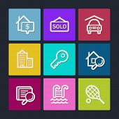 Real estate web icons, color buttons