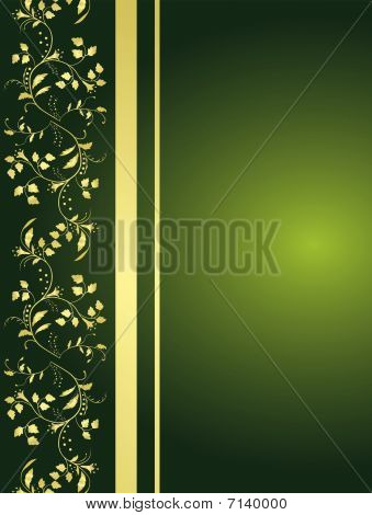 Green background with floral ornaments