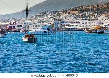 Bodrum, Turkey - June 24, 2014: Aerial View To The City. Bodrum Is Famous For Housing The Mausoleum