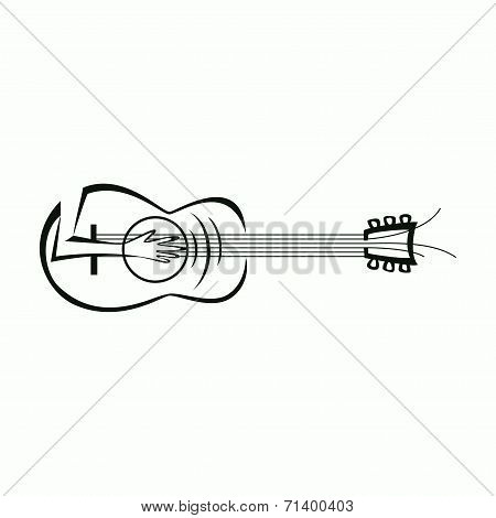 Music Logo. Guitar And Hand Playing Guitar