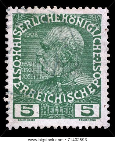 AUSTRIA - CIRCA 1908: stamp printed by Austria, shows Franz Josef, circa 1908